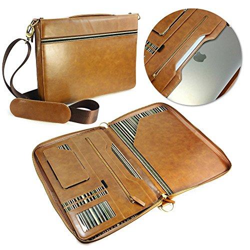 Alston Craig Executive Leather Folio case in A4 & to suit the New Macbook 12 & Pro Retina 13 & Macbook Air 11 & 13 iPad Pro 12.9 / 9.7 / iPad Air 1 & 2 / iPad 2 3 4 & Zipped Folio - Case in Brown by Alston Craig