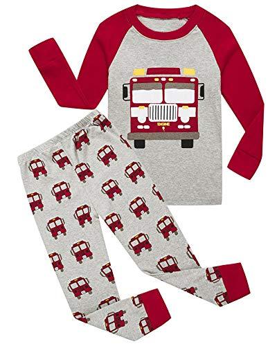 f4e01a234752 Galleon - Boys Pajamas 100% Cotton Firetruck Kids Christmas Pjs ...