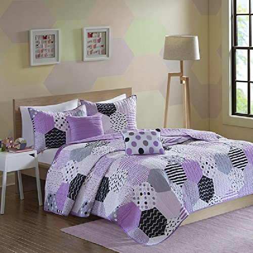 Girls Purple Black Hexagon Geometric Patchwork Themed Coverlet 5-Piece Set Full/Queen, Featuring Chevron Stripes, Checkered Plaid, Motif Print Design, Solid Reversible Bedding, Vibrant Colors