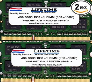8GB RAM Kit (2x4GB) Samsung DDR3 1333mhz SODIMM Notebook Memory Laptop PC3-10600s M471B5273DH0-CH9 by Samsung