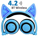 Wireless Bluetooth Headphones with Cat Ear AMENON Rechargeable On/Over-ear Foldable LED Lights Gaming Headset for Girls or Boys Compatible with IOS phone and Android Phone Laptop (04 Blue)