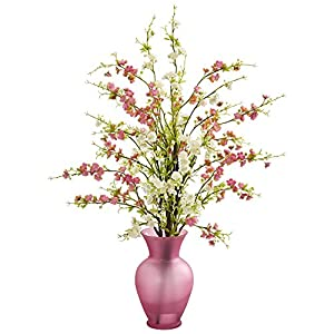 Nearly Natural 1590-WP Cherry Blossom Artificial Rose Vase Silk Arrangements Pink/White 25