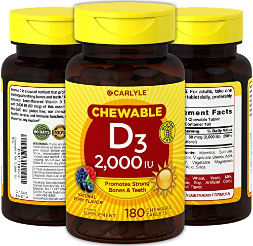 - Chewable Vitamin D 2000 IU 180 Tablets | Vegetarian, Non-GMO and Gluten Free | by Carlyle