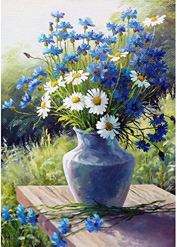 Adults 5D DIY Diamond Painting Kits, Daisy Flowers Paint via Number Kits Round Full Drill Art Perfect for Relaxation and Home Wall Decor