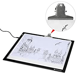 Voilamart A3 8mm Thin LED Tracing Board Light Box Light Pad Illumination Light Panel, dimmable Brightness, Active Area 17\