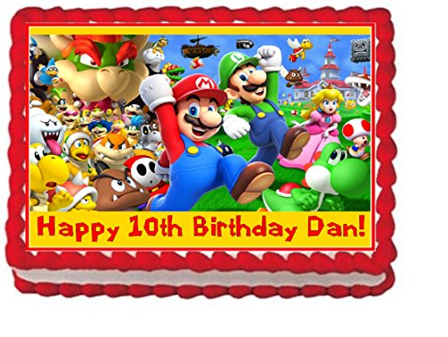 Price comparison product image Super Mario Bros Personalized Edible Cake Topper Image - 1 / 4 Sheet
