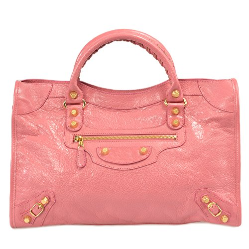 Balenciaga Women's 12 Gold City Leather Bag, Rose Jaipur, Medium