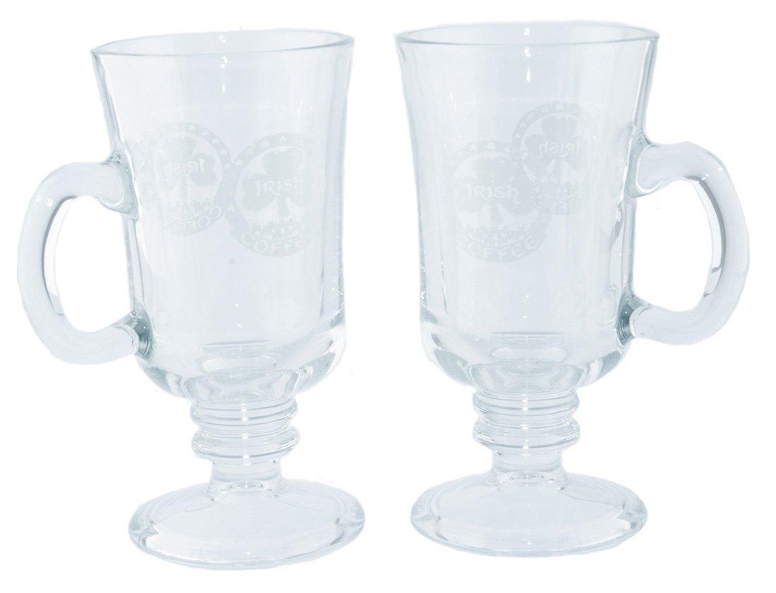 Two Pack of Irish Coffee Glasses with Shamrock and Irish Coffee Design