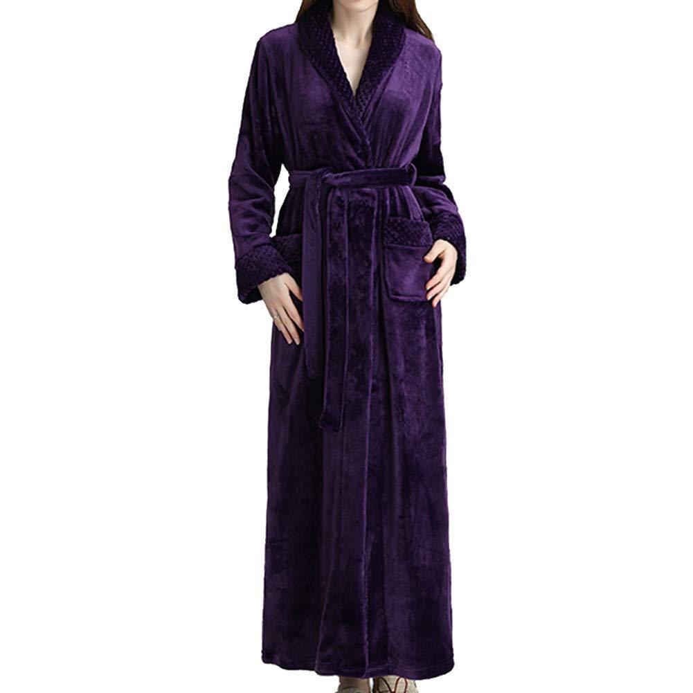GODGETS Peignoir Long Polaire Unisexe Pyjama Kimono Robe de Chambre Manche Longue Bathrobe Nightgown V/êtements de Nuit Hotal Spa Homewear Romper Sleepsuit Femme Homme
