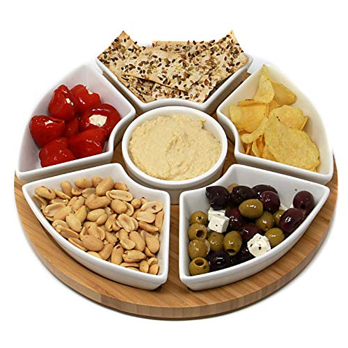 Rotating Lazy Susan Dip Set | Bamboo Revolving Serving Platter with 6 Ceramic Dish Snack Bowls | Ideal for Dips, Appetisers & Snacks | M&W (Susan Lazy Serving Set)