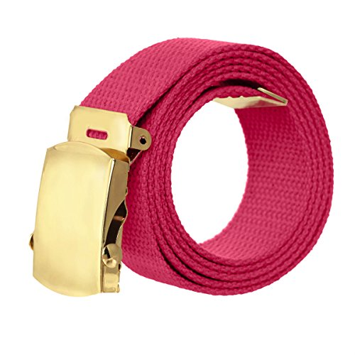 Designer Style Belt Buckle (Canvas Military Style Belt with Gold Buckle –)
