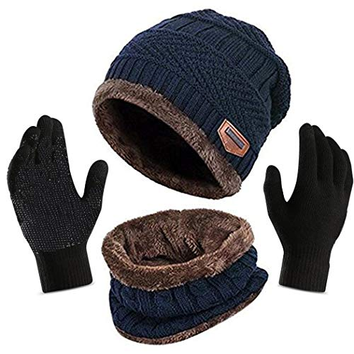 Affei Winter Hat Scarf Gloves Set for Men Knitted Hats Scarf Skullies Beanies Hat Cap + Touchscreen Gloves Worth $7.99 (Blue, One - Acrylic Knitted Scarf