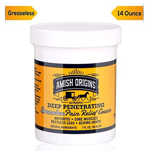 Amish Origins Deep Penetrating Pain Relief Cream for Arthritis, Colds, Sore Throats, Restless Legs, Aching Joints - Greaseless 7 Ounce