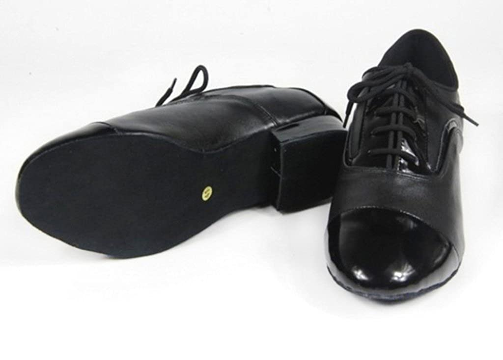 CRC Mens Stylish Round Toe Lace Up Black Leather Salsa Tango Ballroom Morden Latin Jazz Rumba Professional Dance Shoes