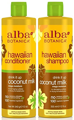 (Alba Botanica Drink It Up Coconut Milk, Hawaiian Duo Set Shampoo and Conditioner, 12 Ounce Bottle Each)