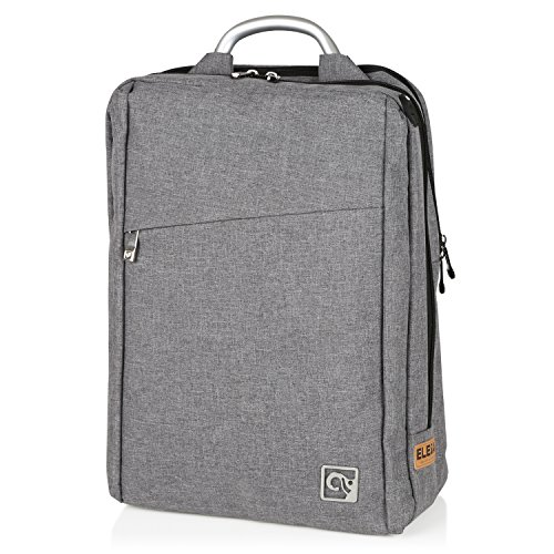 Metal Trendy Fashion - Stylish Laptop Backpack for Adults & Kids by EleSac, Water Resistant Designer Canvas Backpack Style for College School Business Work Fashion Grey