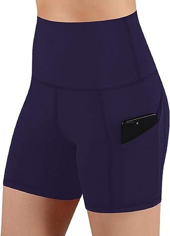 Voqeen Yoga Shorts Mujer Pantalones Cortos de Yoga Bolsillo para Pantalones Cortos de Yoga Bolsillos para Control de Barriga Cortos Pantalones Cortos de Ejercicios de Yoga para Mujeres Cintura Alta