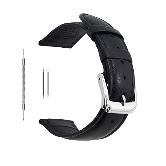 5314b361af4b Berfine 18mm Black Calf Leather Watch Band Replacement