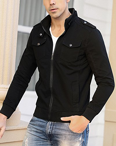 Cappotti Nero Jacket Lunga Slim Uomo Giacche Manica Casual Cappotto Outwear Giacca Corta SxBAPqR
