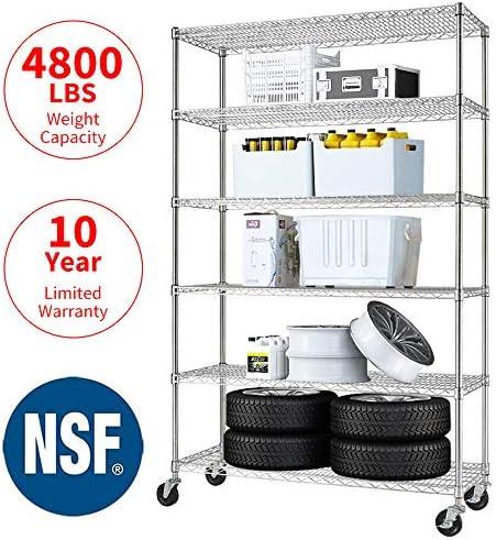 Meet Perfect 6-Shelf Shelving Storage Unit,Heavy Duty Metal Organizer Wire Rack w Wheels,76 x 48x 18 Adjustable 4800 LBS NSF Shelves- Chrome Silver