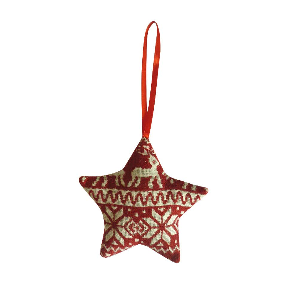 Christmas Tree Decoration,Christmas Linen Pentagram Hanging Ornament for Party,Living Room,Bedroom Year Christmas Holiday Decoration (C)