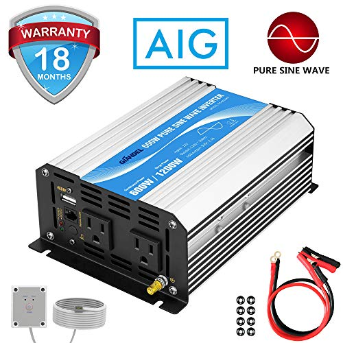 Power Inverter Pure Sine Wave 600Watt 12V DC to 110V 120V