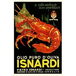 "Pure Olive Oil Red Lobster Isnardi Food Italy Italia Italian Vintage Poster Repro (12"" X 16"" Image Matte Paper)"