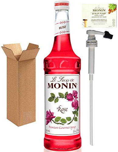 Monin Rose Syrup, 25.4-Ounce (750 ml) Glass Bottle with Monin BPA Free Pump. Boxed.