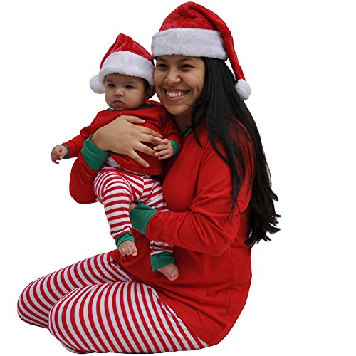 We Match! Plush Soft Deluxe Red & White Santa Hat - Infant Through Adult Sizes (3-6 Months)
