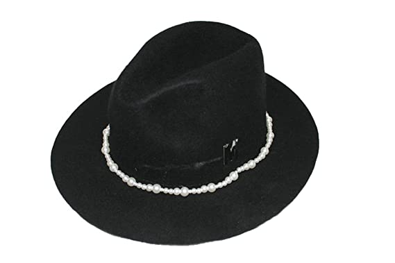 Image Unavailable. Image not available for. Colour  JTC Women s Wool Panama  Hat With Pearls Band Black 81d31e8462a2
