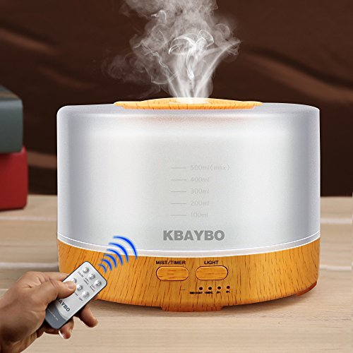 KBAYBO 500ml Cool Mist Humidifier Ultrasonic Aroma Essential Oil Diffuser with 4 Timer Settings 7 Color Changing LED for Office Home Bedroom Living Room Study Yoga Spa - Wood Grain