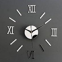 2016 NEW Acrylic Roman Numerals Wall Clock Adhesive Decal Sticker Art DIY Home Decor - Silver + Black