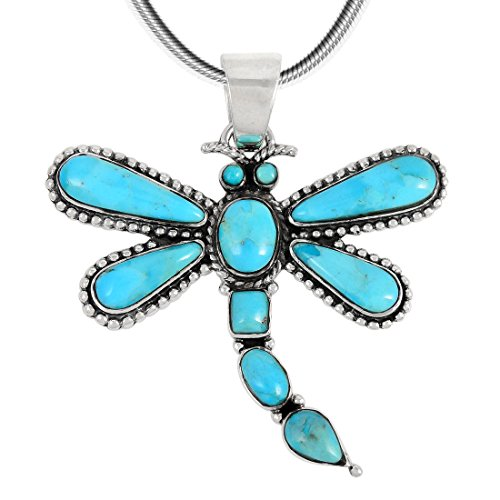 (Dragonfly Turquoise Necklace Pendant 925 Sterling Silver & Genuine Turquoise (20