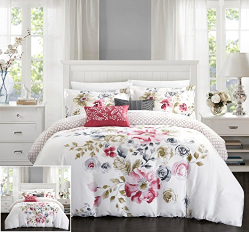 Chic Home 5 Piece Belleville Garden Reversible Floral Print and Geometric Patterned Technique King Comforter Set Rose