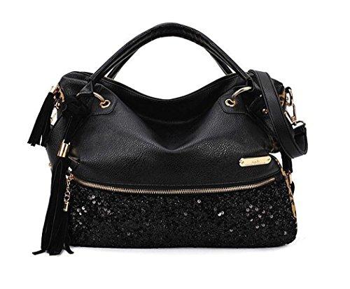 (Women's Fashion Handbag Hobo Style PU Leather Sequins Leopard Print Shoulder Bag-Black)