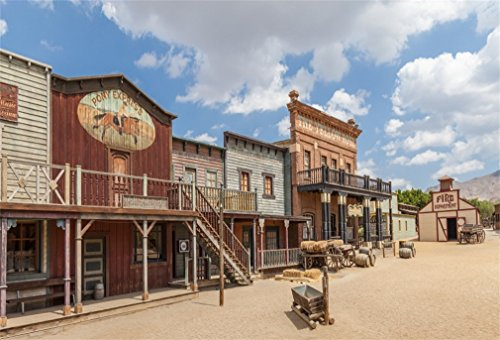 (LFEEY 7x5ft Western Scenery Photography Backdrop Blue Sky Far West Adventure Old Vintage Villiage Town Building House Photo Background Travel Photo Studio)