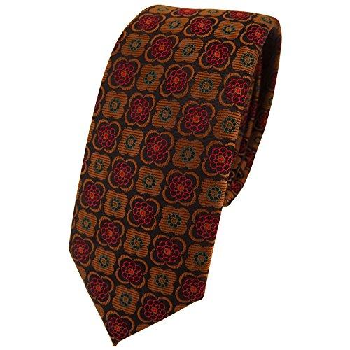 étroit TigerTie cravate en cuivre noir bordeaux à motifs -