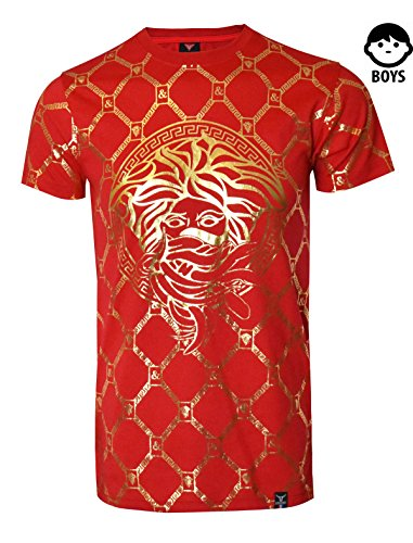 SCREENSHOTBRAND-S11821BY Boys Hipster Hip-Hop Premiun Tees - Stylish Latest Fashion T-Shirts - Medusa Foil-Red-Small