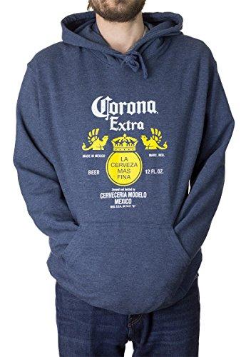 Corona Bottle Label Men's Hoodie (XX-Large, Blue)
