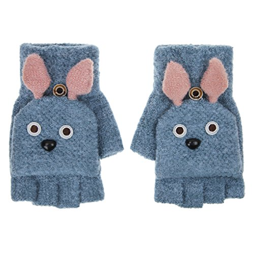 IPENNY Womens Girls Winter Warm Knitted Flip Top Gloves with Cute Bunny Ears Convertible Stretchy Half Finger Mittens Ladies Soft Cozy Fingerless Texting Gloves with Mitten Cover