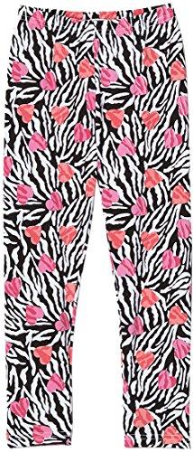 - ToBeInStyle Girl's Zebra Stripes and Hearts Print Leggings - Coral - 6