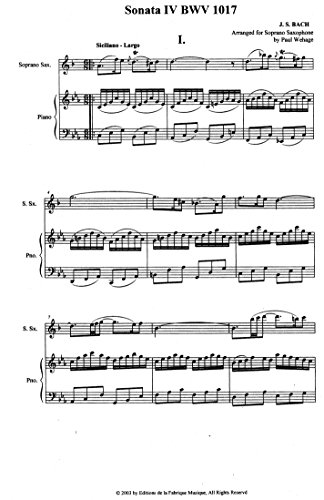 (Sonata BWV 1017 for Soprano Saxophone and Piano by J.S. Bach )