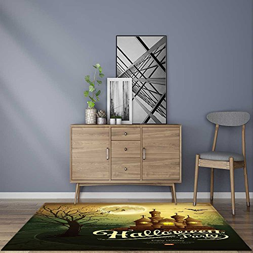 for Home or Travel Happy Halloween party castles with message,bat,silhouette tree,moon Easier to Dry for BathroomW59 x L71 INCH