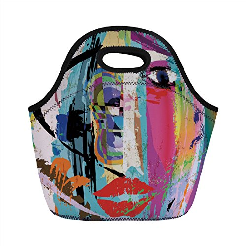 Neoprene Lunch Bag,Art,Contemporary Paint Strokes Splashes Face Mask