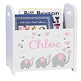 MyBambino Personalized Pink Elephant Book Caddy and Rack