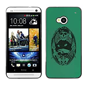 Shell-Star Arte & diseño plástico duro Fundas Cover Cubre Hard Case Cover para HTC One M7 ( Green Cat Death Bones Skeleton Black )