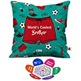 Indigifts 'World's Coolest Brother' Printed Micro Satin Cushion Cover with Filler (Sea Green)