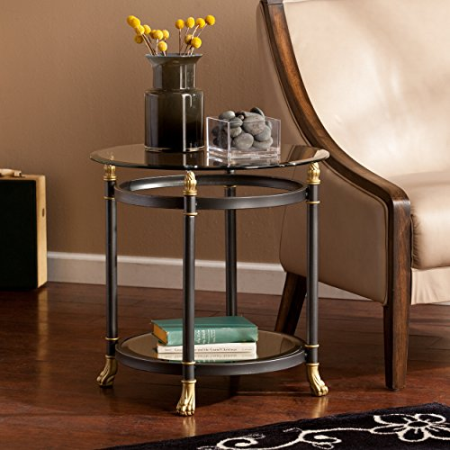 Southern Enterprises Allesandro Round End Table, Dark Gray Finish, Silver Distressing and Gold Accents