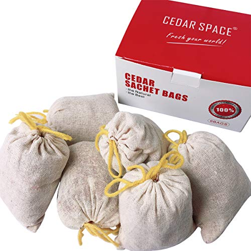 Cedar Balls Blocks Cedar Sachets Bags Hang Ups Cedar Packs for Closet Storage, 100% Nature Aromatic Red Ceder Blocks (Cedar Sachet Bags 6 Packs)