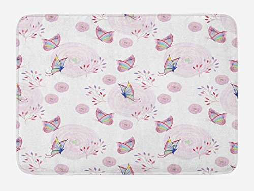 Ambesonne Butterfly Bath Mat, Butterflies and Branches Romantic Spring Retro Faith Optimism Change Fly Theme, Plush Bathroom Decor Mat with Non Slip Backing, 29.5 W X 17.5 W Inches, Pink White by Ambesonne